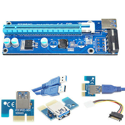 USB 3.0 PCI-E Express 1Xto16X Extension Riser Card Adapter SATA with Power Cable
