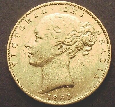1860 Gold Sovereign - Victoria Young Head Shield Back- London - Large 0 Type