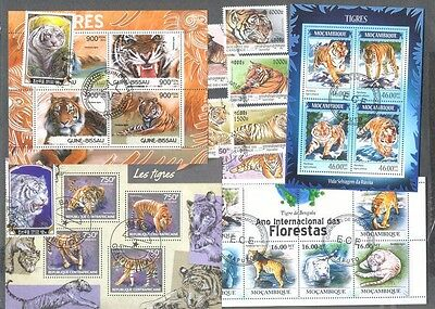 Tigers 25 all different stamps collection-Wild Cats