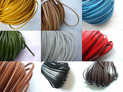 5/10 Yards 5mm Flat Real Genuine Leather String Lace Thong Jewelry Craft Cord