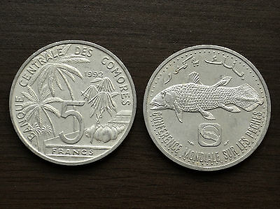 COMOROS  5 Francs 1992 km15 , UNC COIN Commemorative ,Coelacanth Fish, Africa