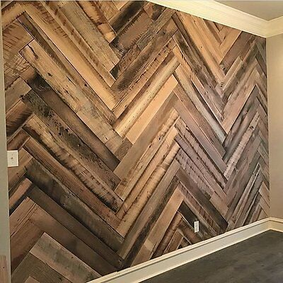 Recycled hardwood vintage timber feature wall panels cafe board