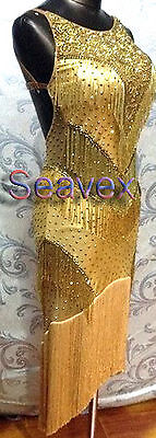 Woman Ballroom Salsa Rumba Latin Dance Dress US 6 UK 8 Two Gold Beads Fringe