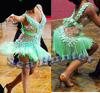 Women Ballroom Salsa Rumba Samba Latin Dance Dress US 6 UK 8 Green Gold Fringe