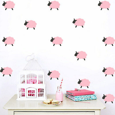 9pcs Pink Sheep Wall Art Sticker Removable Decal Baby Kids Girls Bedroom Gift