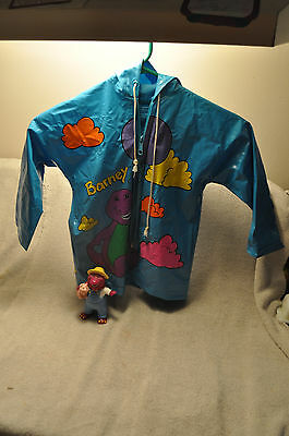 "vintage 90s BARNEY  Blue Vinyl Raincoat CHILD  size 2t w/ 5"" 1997 barney figure"