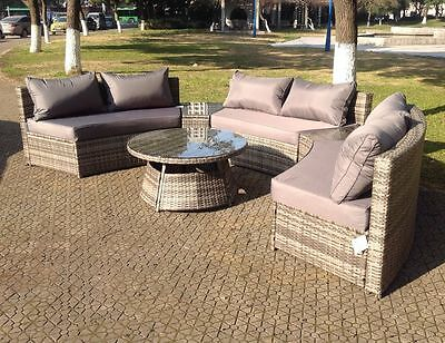 Outdoor Rattan Garden Furniture Round Sofa & Table Set in Black, Brown & Grey