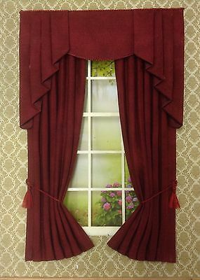 "12th Dark Burgundy Marl Dollhouse Curtains LARGER SIZE 5 X 8"" Slight Seconds"