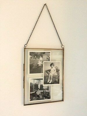 Antique Brass Picture Photo Frame Glass Metal Portrait Industrial Vintage Style
