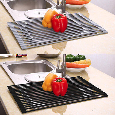 Over the Sink Dish Roll-Up Drying Rack Drainer Stainless Steel Kitchen Shelf AU