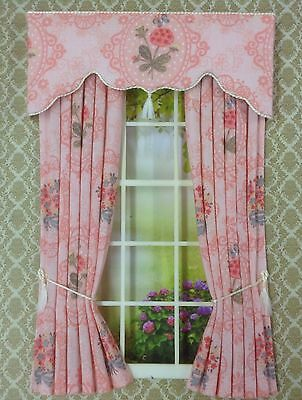 12th Pastel Multi Pink Floral Dollhouse Curtains