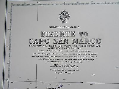 "1968 TUNISIA to SICILY Mediterranean Sea  Admiralty Chart MAP 28"" x 41"" C16"