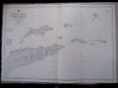 "1961 EASTERN TIMOR Indonesia Navigational Sea MAP Chart 28"" x 41"" C32"