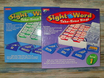 Lakeshore Sight Word Take Home Rings LEVEL 1 & 2 Nearly Complete Classroom Sets