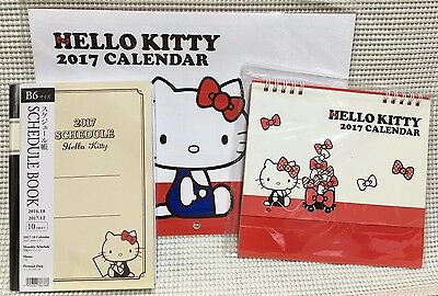 SANRIO Hello Kitty 2017 Wall Calendar,Desk Calendar,Schedule book 3Set NEW