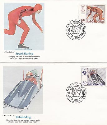 Yugoslavia 1984 8 First Day Covers Winter Olympics