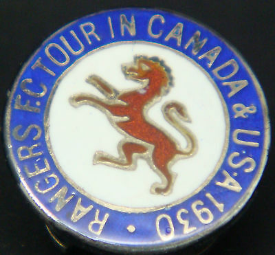 RANGERS FC Very rare 1930 TOUR OF CANADA & USA Badge Maker VAUGHTONS H/M Silver