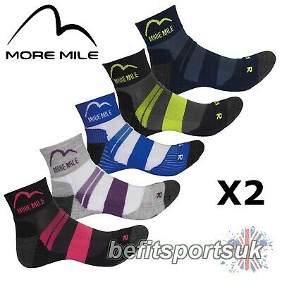 More Mile Mens Womens Ladies Endurance Ankle Running Sports Cushioned Socks 2
