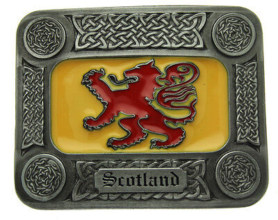 Celtic Scotland Belt Buckle In a Gift Box + Display Stand.