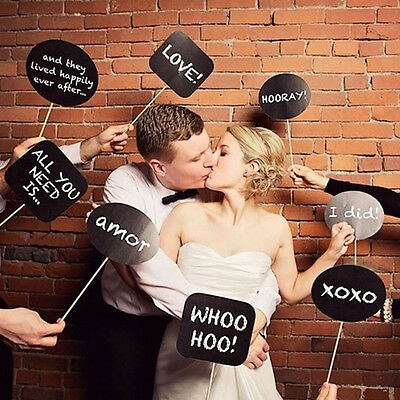 10 Pcs Photo Booth Prop DIY Bubble Speech Chalk Board Wedding Party Props