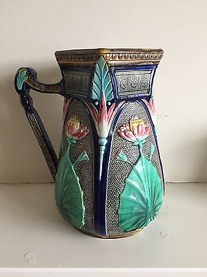 Copeland Majolica antique lotus flower pitcher