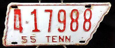 1955 Tennessee License Plate-Hamilton County-Tag No. 4-17988-Original Paint