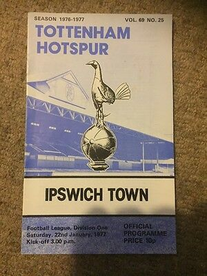 22nd January 1977 22/01/77 Tottenham H. v Ipswich Town Programme White Hart Lane