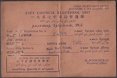 Singapore 1957 City Council Elections Chief Secretary Office Card