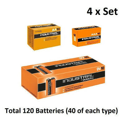 40 x AA / AAA / 9V Duracell Industrial Alkaline Multi Batteries for Electronics