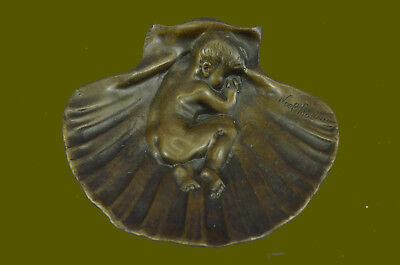 Bronze Figural Ashtray Deco Nouveau Era Moveable Naughty Nude Boy Figurine SALE