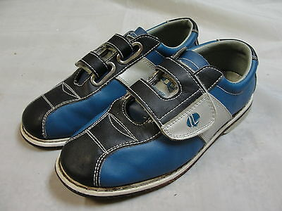 Linds Blue Velcro Strap bowling shoes Size 4/5 left or right hand leather sole