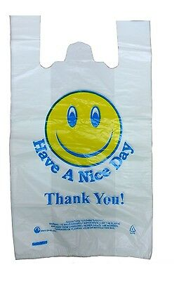 "100 Smiley Face Thank You Plastic Vest Carrier Bags 12""X18""X21"" Strong 22micron"