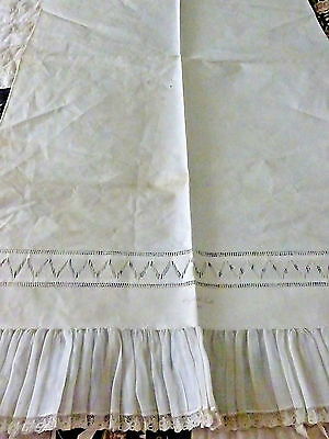 Beautiful 1900s Vintage Victorian Linen Pillow Sham signed Elizabeth Trull 16.