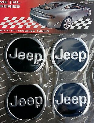 4x JEEP (Alloy) Logo Wheel Center Stickers 60mm Replacement Decal Cap Hub BLACK