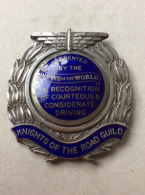 Rare Unusual Knights Of The Road News Of The World Enamel Car Badge