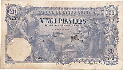 Indochine Rare billet Saigon 20 piastres violet 1920 Duval Vietnam indochinois