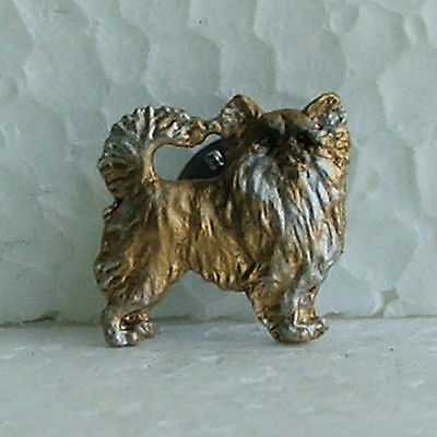 Chihuahua Longhaired Fawn White Lapel Pin Dog Breed Jewellery Handpainted