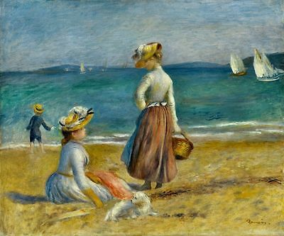 Auguste Renoir Figures On The Beach Painting Picture Fine Art Re-Print A3 A4