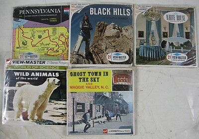 5 Vintage View-Master Views PA Black Hills White House Maggie Valley, NC Animals