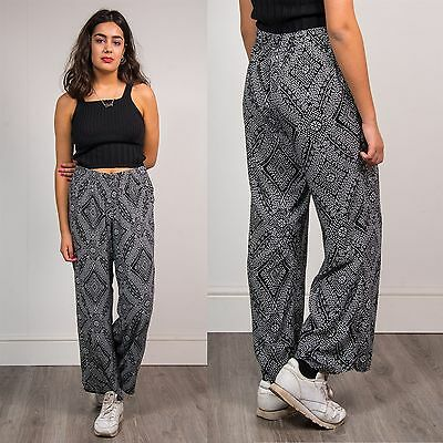 Vtg 90's Wide Leg Womens Summer Trousers Black White Boho Patterned Hippie 16