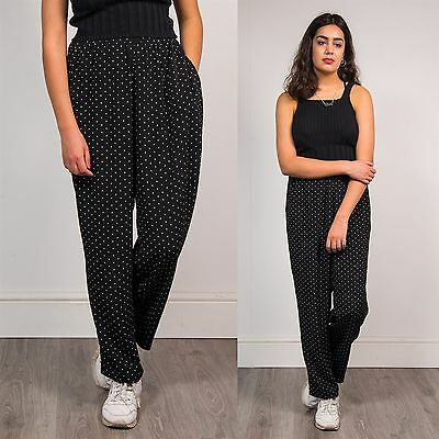 Vintage 90's Womens Wide Leg Trousers Black White Polka Dot Summer Baggy Boho 16