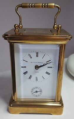 Mathew Norman Vintage 8 Day Alarm Swiss Carriage Clock