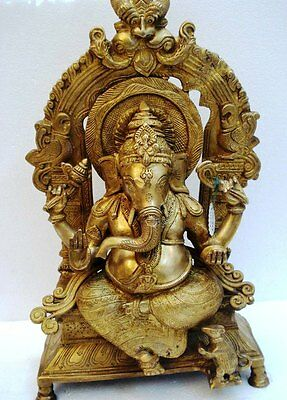 LARGE - Vintage Style HINDU Lord GANESHA Statue Figurine - 18.50 Inches - BRASS