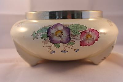 A J Wilkinson Footed Fruit Salad Bowl Silver Plate Rim Floral Design Pale Yellow
