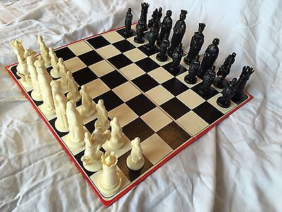 Roxy Vintage 1960's Black and White Medieval Chess Set and Board