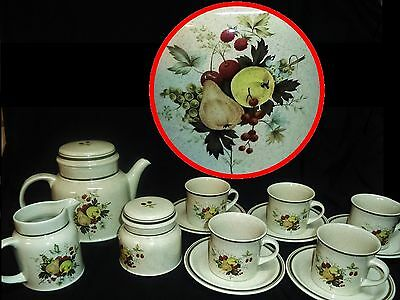 Royal Doulton CORNWALL England 1975 Tea Coffee Pot Jug Sugar Jar 5 Cups Saucers