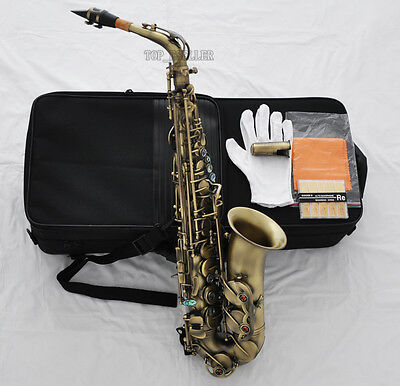 Prof New Antique Alto Saxophone Eb Sax High F# Abalone Shell Keys with case