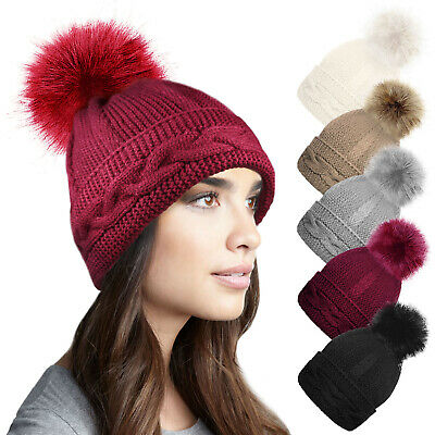 Ladies Womens Warm Winter Chunky Cable Knit Beanie Bobble Hat Detachable Pom Pom