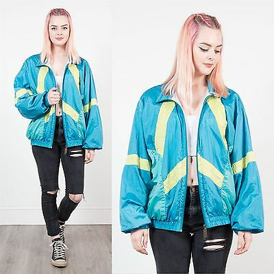 Vintage 90's Womens Blue Shellsuit Jacket Tracksuit Top Bright Track Shell 16