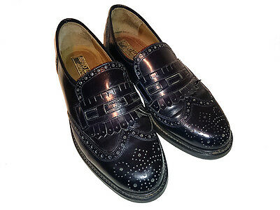 VINTAGE Wingtip BROGUES Mens BLACK Leather SHOES Loafers ITALIAN Berto Lucci 9